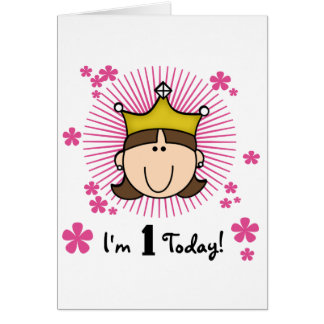 Brunette Princess 1st Birthday Tshirts and Gifts Card