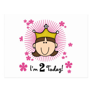 Brunette Princess 2nd Birthday Tshirts and Gifts Postcard