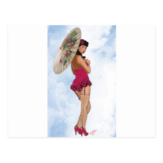 Brunette with Parasol in Magenta Postcard