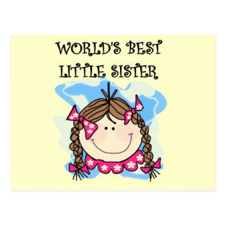 Brunette World's Best Little Sister Tshirts Postcard