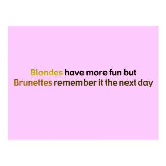 Brunettes&BlondesBumperStik Postcard