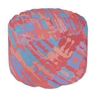 Brush Stroke Pattern light red blue + your ideas Pouf