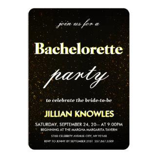 Brushed Black Metal Confetti Gold Red Bachelorette Card