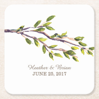 Brushed Branches Wedding Paper Coasters