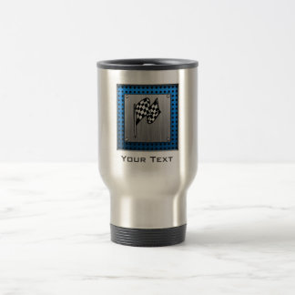 Brushed metal look Racing Flag Travel Mug