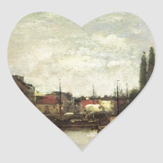 Brussels, the Louvain Canal by Eugene Boudin Heart Sticker