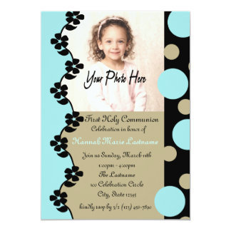 Bubble and Flowers First Communion Card