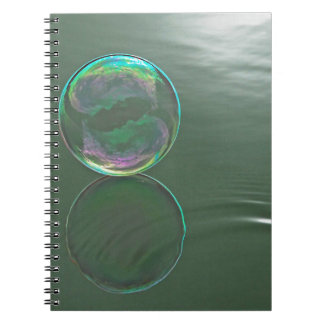 Bubble floating on water notebook