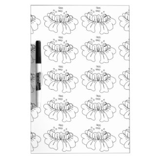 Bubble flower black and white dry erase whiteboard