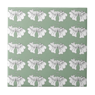 bubble flower white on green small square tile