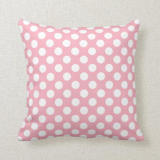 Bubble Gum Pink Polka Dots Throw Pillow