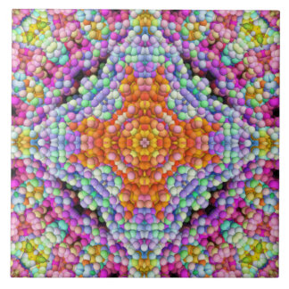 Bubble-Mosaic Diamond-Star Mandala Tile