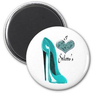 Bubblegum Blue Stiletto Shoe and 3D Heart Fridge Magnets