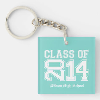 Bubblegum Pink and White Class of 2014 Graduation Single-Sided Square Acrylic Key Ring
