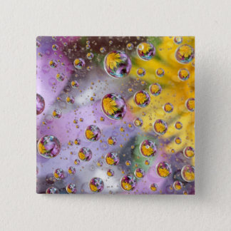 Bubbles abstract with flowers. Credit as: Nancy 15 Cm Square Badge