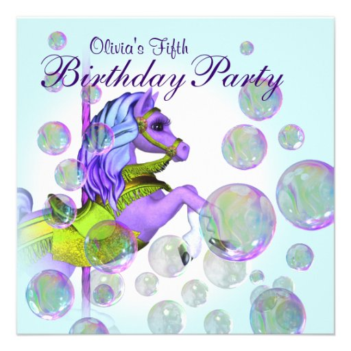 Bubbles Purple Carousel Pony Girls Birthday Party Personalized Announcement