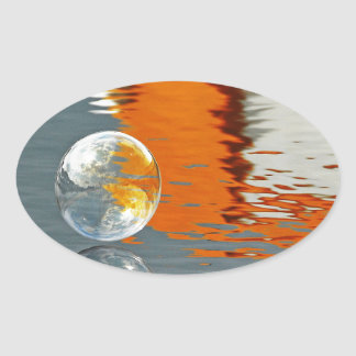 Bubbles Reflecting in Water Oval Sticker