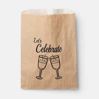 Bubbly Champagne Glasses Wedding Party Black Favour Bags