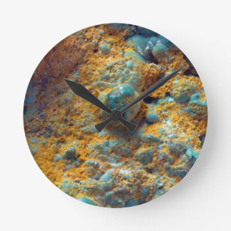 Bubbly Turquoise with Rusty Dust Round Clock