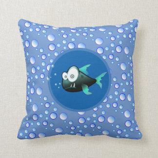 Bubbly Waters Fish Throw Pillow