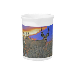 Buck deer sunrise pitcher