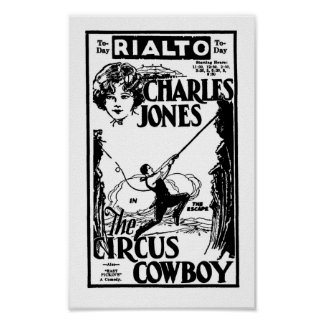 Buck Jones CIRCUS COWBOY silent cowboy movie ad Poster