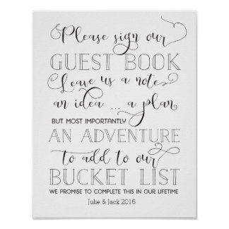 Bucket List Guestbook Sign Poster