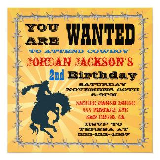 Bucking Bronco Cowboy Birthday Party Invitaiton Personalized Invites