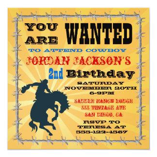 Bucking Bronco Cowboy Birthday Party Invitaiton 13 Cm X 13 Cm Square Invitation Card