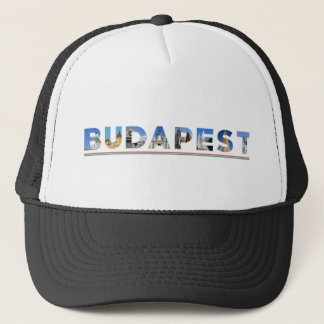 budapest city hungary landmark inside name text trucker hat