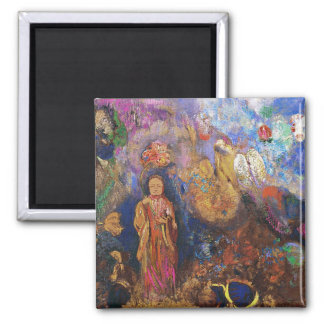Buddha and the Flower by Odilon Redon Square Magnet