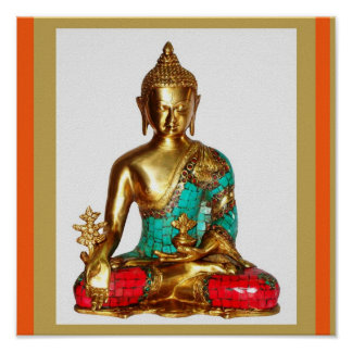 BUDDHA Brass Painted Sitting Position   MEDITATION Poster