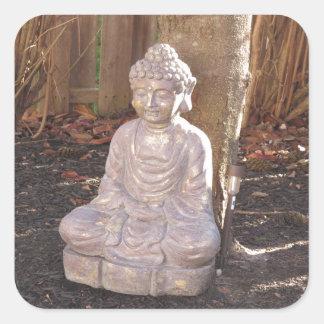 Buddha Buddhist Spiritual Statue Idol Peace Happy Square Stickers
