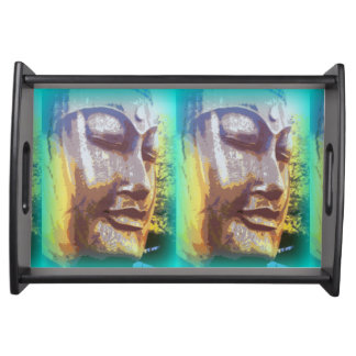 buddha face green serving tray