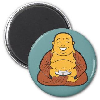 buddha gamer 6 cm round magnet