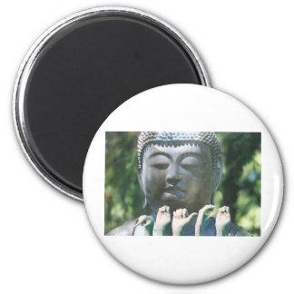 Buddha head & Peace ASL 6 Cm Round Magnet
