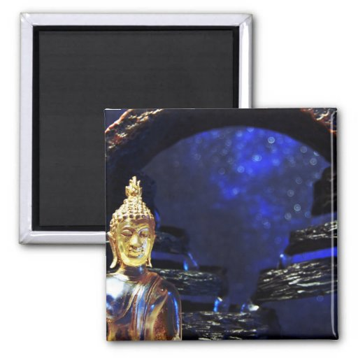Buddha magnet with blue background