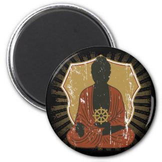 Buddha Meditating Dharma Wheel Refrigerator Magnet