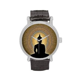 Buddha on mandala - orange and gold wrist watch
