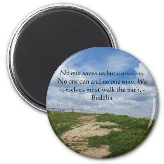 Buddha Path Quote 6 Cm Round Magnet