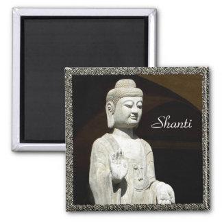 Buddha Shanti, framed Square Magnet