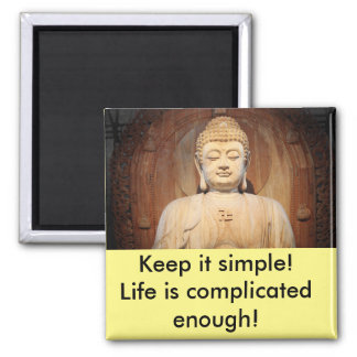 Buddha with quote square magnet