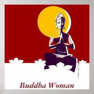 Buddha woman, yoga posture poster