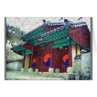 Buddhist temple doors south korea with Ying Yang Card