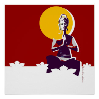 Buddhist woman, yoga posture poster