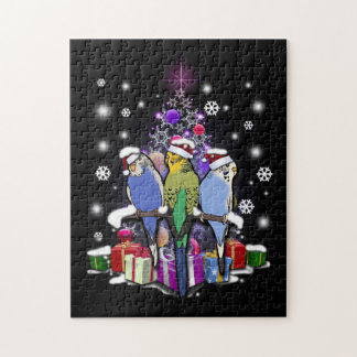 Budgerigars with Christmas Gift and Snowflakes Jigsaw Puzzle