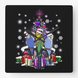 Budgerigars with Christmas Gift and Snowflakes Square Wall Clock