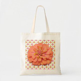 Budget Tote - Tequila Sunrise Zinnia on Diamonds