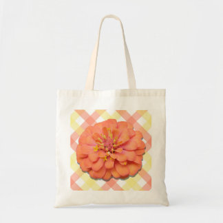 Budget Tote - Tequila Sunrise Zinnia on Lattice