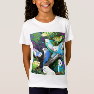 Budgie Parakeets and Ferns Girls Baby Doll Shirt